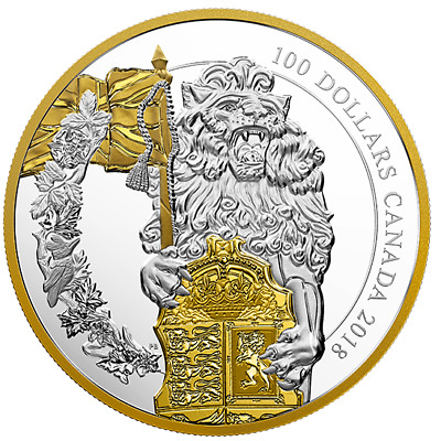 CANADA Keepers of Parliament: The Lion $100 10 oz. Pure Silver Gold-Plated Coin