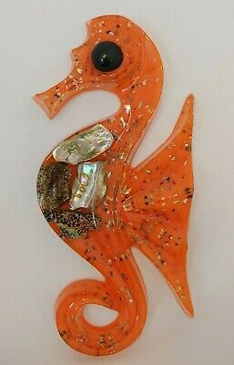 Vintage Acrylic Resin Orange Seahorse Wall Plaque Abalone Shell Art