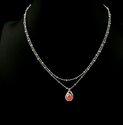 UNO de 50 WONDER Short Silver Double Necklace w/ Coral Crystal & Pkging COL1361