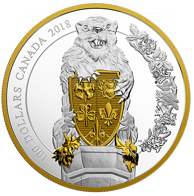CANADA Keepers of Parliament: The Beaver  10 oz. Pure Silver Gold-Plated Coin