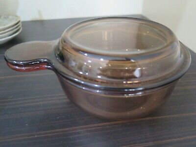 Vintage Corning Vision Ware Amber saucepan pot casserole with lid V-150-B Pyrex