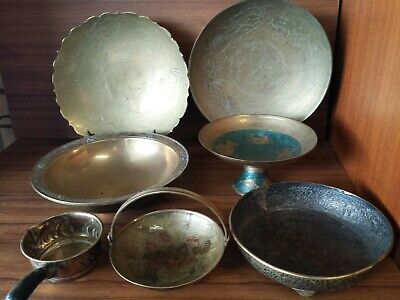 7 mixed of Vintage bowl/plates Brass