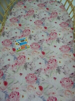 Floral Bassinet Fitted Sheet Loralie 100% Cotton  FITS STANDARD BASSINET