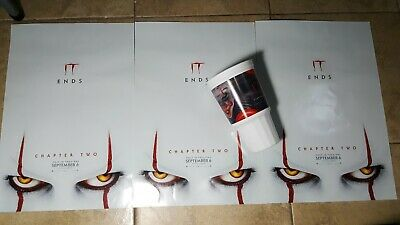 It Chapter 2 Movie Carls Jr Cup & Exclusive Theater Poster lot of 3. Rare King