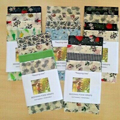 Beeswax Food Wraps.  6 Pack  Oddments clearance. 1 Large 3 medium 2 small
