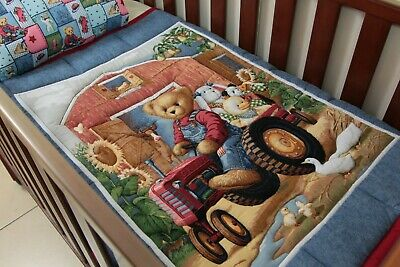 Blue Jeans Tractor Ted Cot Quilt with pillow case