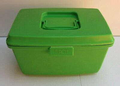 Vintage Birch Sewing Box Lime Green Complete with Tray Ashwood Melb.