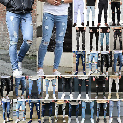 Mens Distressed Frayed Slim Fit Denim Pants Jeans Stretch Pleated Zip Trousers