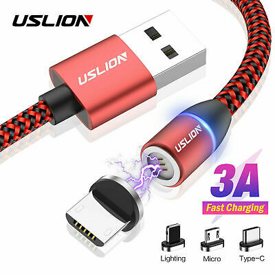 USLION 3A Magnetic Fast Charging Cable Micro USB Type C Charger Data Sync Cord