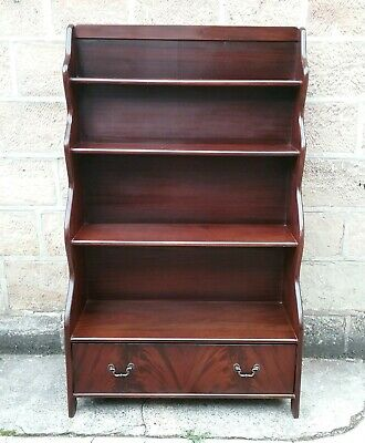 Antique Style Flame Mahogany Waterfall Open Bookcase
