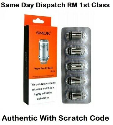 Authentic SMOK Vape Pen 22 Replacement Coils 0.3 Ohm Dual Core Coil (Pack Of 5)