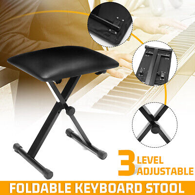 Adjustable Height Foldable X Keyboard Piano Stool Bench Portable PU Leather Seat