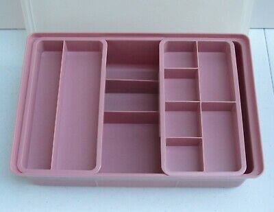 Tupperware Rose Pink Craft, Sewing, First Aid, Hobby Box - Stow 'n' Go Container