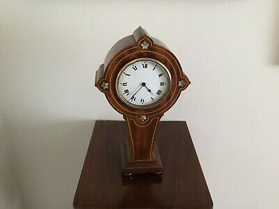 French Arts And Crafts Mahogany Mantel Clock Mother Pearl Inlay