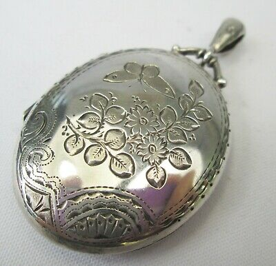 Antique Victorian Sterling Silver Aesthetic Movement Engraved Photo Locket 1885
