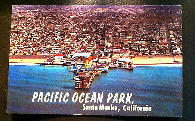 Postcard Pacific Ocean Park Santa Monica California birdseye view amusement park