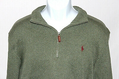 Polo Ralph Lauren Mens Large Brown Long Sleeve 1/4 Zip Pullover Sweater Jacket