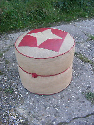 Vintage Retro Mid Century Faux Leather Round Footstool Pouffe Foot Stool Seat