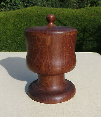 A Large Turned Wooden Pot / Goblet with Lid