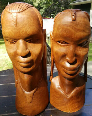 African Hand Carved Solid Wood Man And Woman See Pics Awesome from Kenya