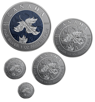 Canada  A Bicentennial Celebration 5-Coin Maple Leaf Fractional Set 2019 -silver