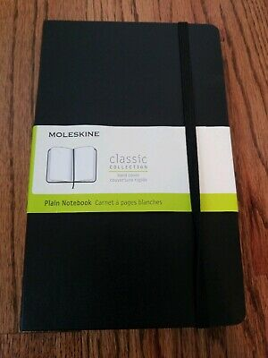 "Moleskine Classic Notebook, Large (5"" x 8.25""), Plain, Black, Hard Cover See Des"