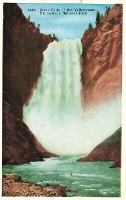 Great Falls of the Yellowstone, National Park, Inspiring Sites Postcard A7