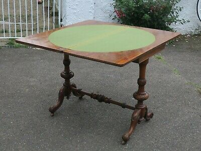 Antique Victorian Burr Walnut Swivel Top Card or Side Table