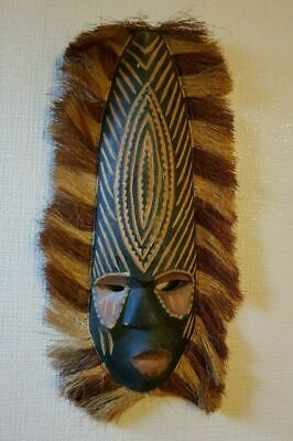 """Hand Carved Wooden Asian African Tribal Face Wall Mask 16"""""""