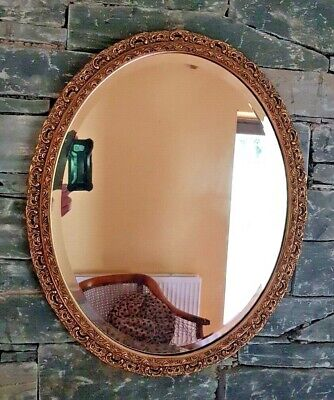 Heavy French Baroque Rococo Style Oval Bevelled Gilt Ornate Wall Mirror 56X47Cm