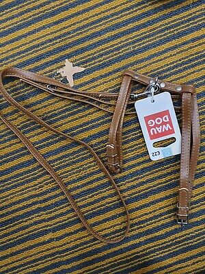 Wau Dog Leather Lead And Harness For Toy Dogs Top Quality Soft Leather Free P+P