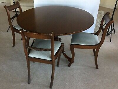 WILLIAM TILLMAN Regency Antique Reproduction Round Mahogany Table 4 Chairs £5500