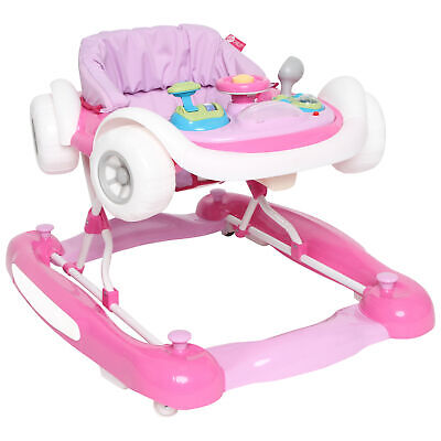 Premium Interactive Baby Toddler Walker Pink Car Style Walking Assistance Play