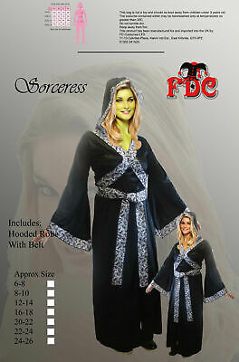 Sorceress Siren of Sorcery Evil Witch Medieval Witch Ladies Fancy Dress Costume