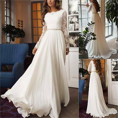 Women Lace Bridesmaid Wedding Blackless Prom Ball Gown Formal Evening Maxi Dress