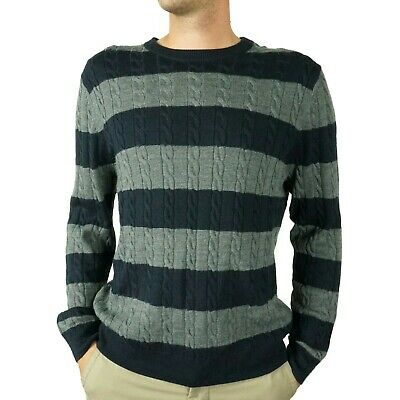 Brooks Brothers Mens Cable Knit Striped Sweater Size Large Blue Gray Pullover