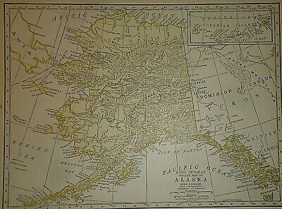 Vintage 1927 ALASKA ALASKAN TERRITORY MAP Antique Original & Authentic Free S&H