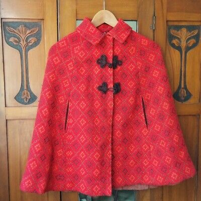 Vintage, XS Welsh Wool Short Cape - burnt orange, red and brown
