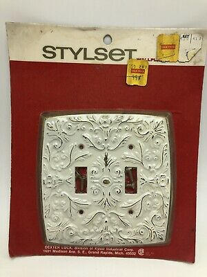 Vintage Dexter Lock Stylset Double Switchplate French Provincial White Gold NOS