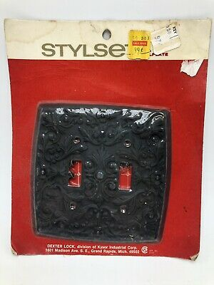 Vintage Dexter Lock Stylset Double Switchplate Black Scroll NOS