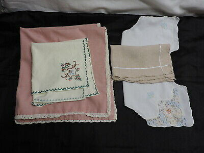 Vintage Small Table Cloths/Runners/Doilies- 25x26 Cross Stitched, Embroidered