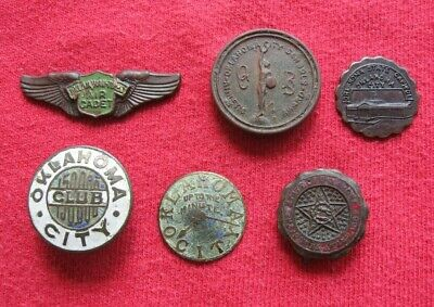 Lot of 6 Vintage Antique Oklahoma City Oklahoma Pins, Buttons, Wings, Other
