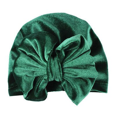 Baby Girls Velvet Hat Big Bow Knot Beanie Cap Solid Color Turban Accessories