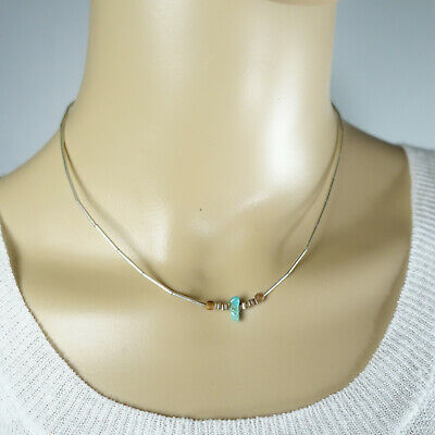 """VTG Native American Liquid Sterling Silver Turquoise Beaded Necklace 1970 16"""""""