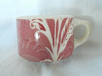Wallace China Red Banana Shadow Leaf Coffee Cup Vintage Restaurant Ware USA 6 oz