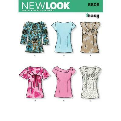 New Look Sewing Pattern 6808 Misses 8-18 Easy Tops Shirts Neckline Sleeve Option