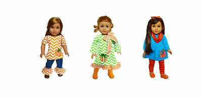 Set of 3 Fall Outfits for American Girl Dolls 18 Inch Doll Clothes