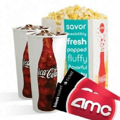AMC Movie Tickets (x2) Large Drink (x2) Large Popcorn (x1) - eTickets Bundle