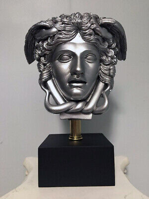 "Medusa Bust Head Greek Roman Versace Sculpture 11"" Replica Silver"