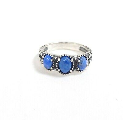 American West Sterling Silver Blue Denim Lapis Three Stones Ring Size 8 Jewelry